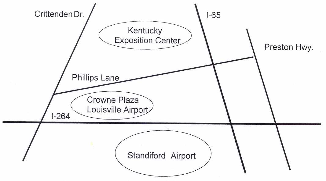 Map to Crown Plaza Louisville Airport & KY Fair & Exposition Center