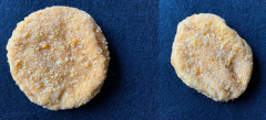 Figure 3. The chicken patty that is on the right is not circular compared to the one on the left. The shape/size would be listed as the defect.